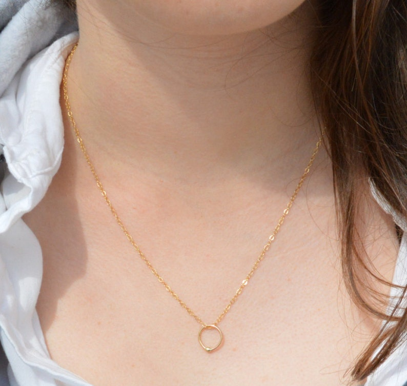Gold Filled and Solid Gold Dew Drop Necklace Gold Circle image 0
