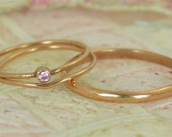 Tiny Pink Tourmaline Ring Set, Solid 14k Rose Gold Wedding Set, Stacking Ring, 14k Gold Tourmaline Ring, October Birthstone, Bridal Set