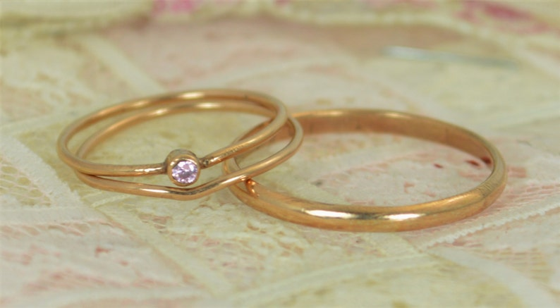 Tiny Pink Tourmaline Ring Set Solid 14k Rose Gold Wedding image 0