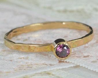 Alexandrite Engagement Ring, 14k Gold, Alexandrite Wedding Ring Set, Rustic Wedding Ring Set, June's Birthstone, Solid 14k Alexandrite Ring