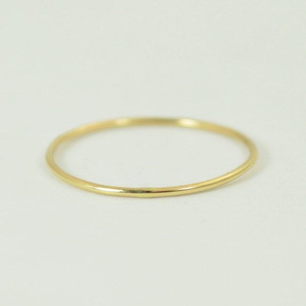 Solid 14k Yellow Gold  Ring Super Thin Stacking Round image 2