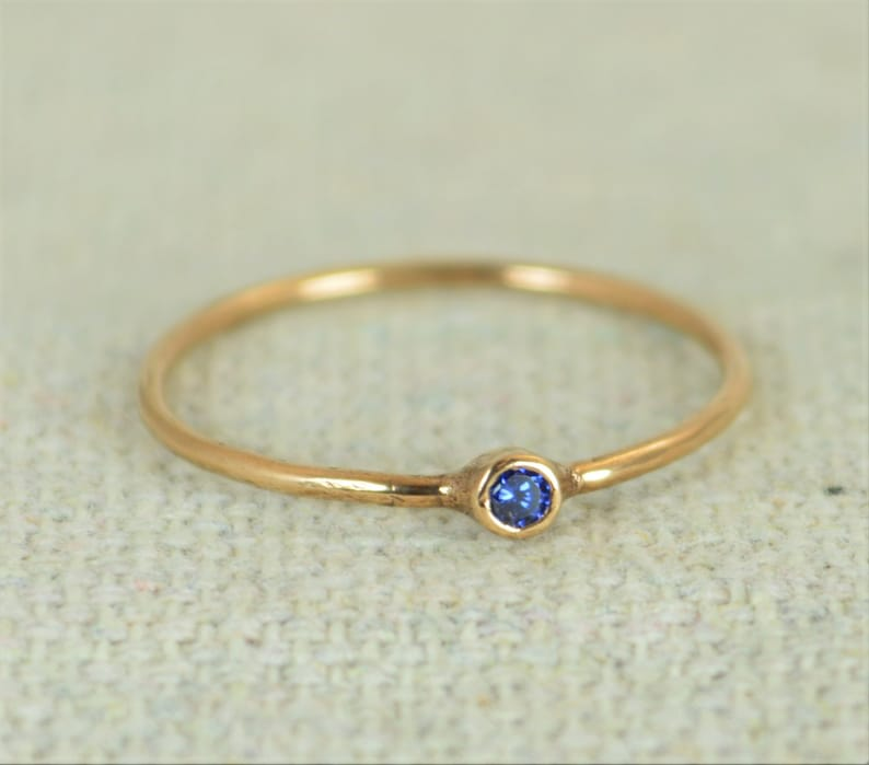 Tiny Rose Gold Filled Sapphire Ring Rose Gold Sapphire image 0