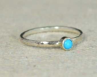 Classic Sterling Silver Turquoise Ring, 3mm Silver Solitaire, December Birthstone, Silver Jewelry, Solitaire, Mothers Ring, Silver Band