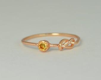 14k Rose Gold Topaz Infinity Ring, 14k Rose Gold, Stackable Rings, Mothers Ring, November Birthstone, Rose Gold Infinity,Rose Gold Knot Ring