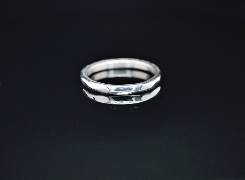 3mm wide Solid Sterling Silver Hammered Wedding Band Wide image 0