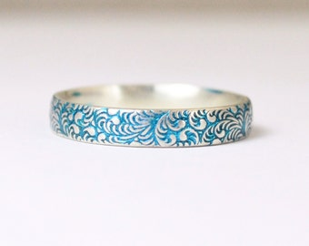 Silver Flower Ring, Floral Band, Swirl Ring, Turquoise Ring, Sterling Silver Ring, Sterling Stack Ring, Silver Band, Romantic Boho Ring