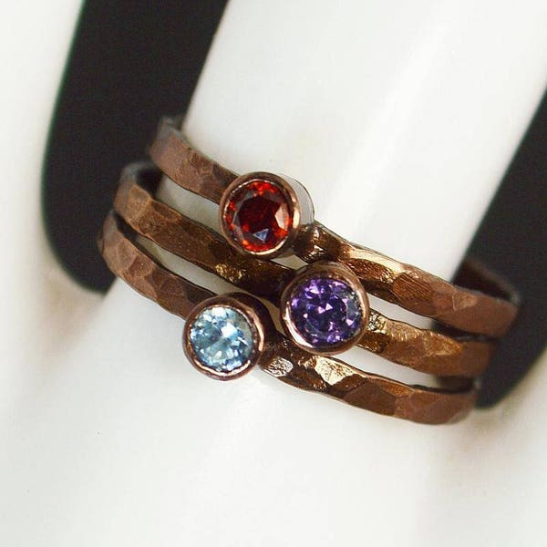 Bronze Copper Amethyst Ring Classic Size Stackable Rings image 3