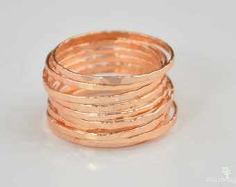 Super Thin Golden Rose Silver Stackable Ring(s), Rose Silver Ring, Stack Rings, Rose Gold Stacking Rings, Thin Rose Gold Ring, Golden Rose