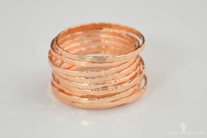Super Thin Golden Rose Silver Stackable Rings Rose Silver image 0