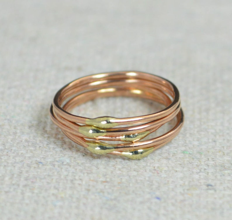 Unique Rose Gold and Solid 14k Gold Dew Drop Stacking image 0
