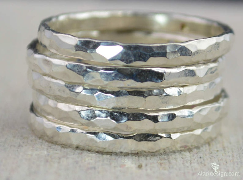 Super Thick Pure Silver Stackable Rings Stack Ring image 0