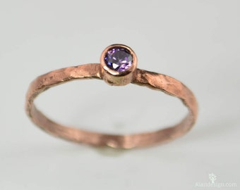 Copper Amethyst Ring, Classic Size, Stackable Rings, Mother's Ring, February Birthstone Ring, Copper Jewelry, Amethyst Ring, Pure Copper
