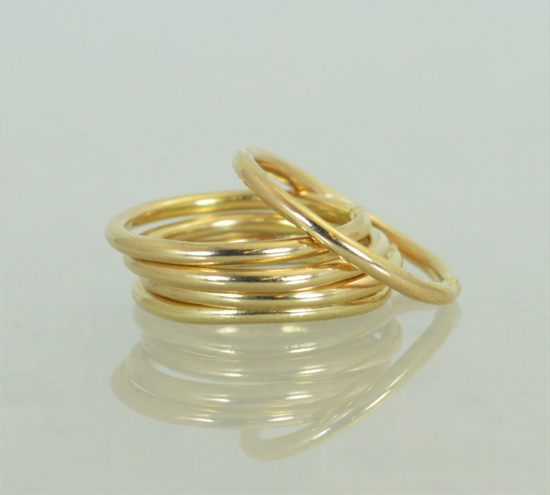 Round Classic Gold Stackable Rings 14k Gold Filled Gold image 1
