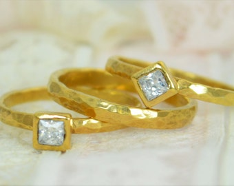 Square CZ Diamond Engagement Ring, Gold Filled, Diamond Wedding Ring Set, Rustic Wedding Ring Set, April Birthstone, 14 Gold Filled