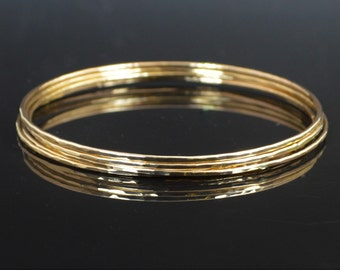 Gold Filled Bangle, Thin Bangle, Textured Bangle, Gold Bangle, Thin Gold Bangle, Gold Bracelet, Hammered Gold Bangle, Alari, Textured Bangle