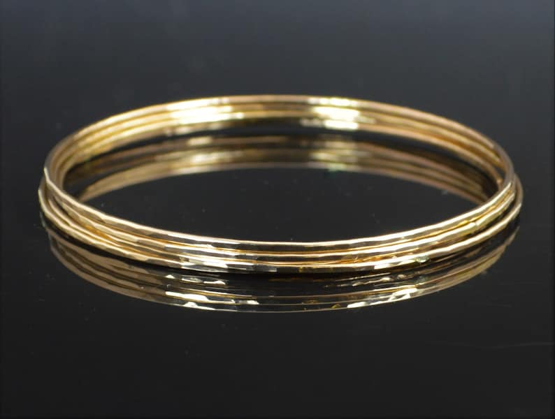 Gold Filled Bangle Thin Bangle Textured Bangle Gold Bangle image 0