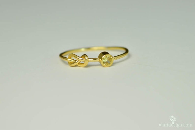 14k Gold Topaz Infinity Ring 14k Gold Ring Stackable Rings image 0