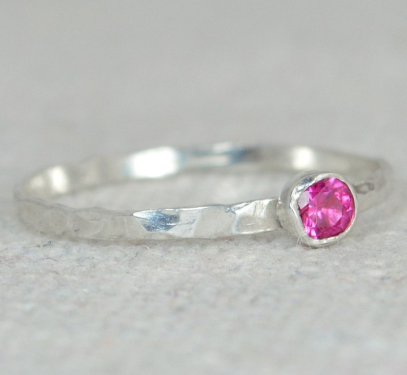 Dainty Ruby Ring Hammered Silver Stackable Rings image 0