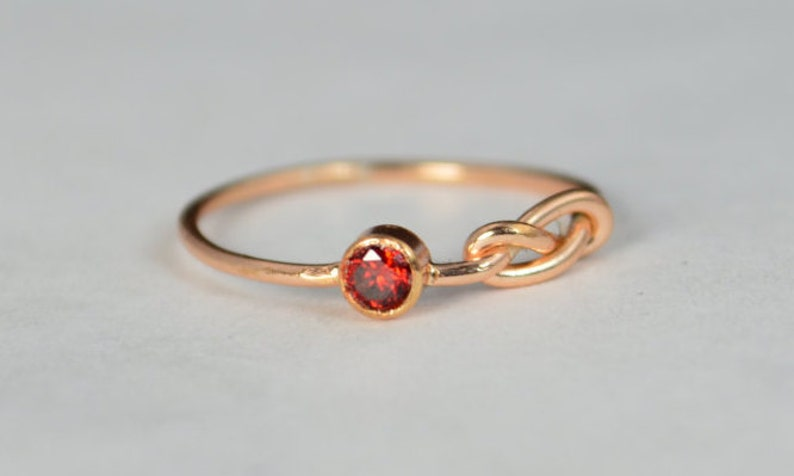 14k Rose Gold Garnet Infinity Ring 14k Rose Gold Stackable image 0