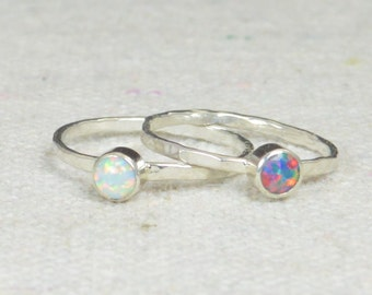 Grab 2 - Small Opal Rings, Opal Ring,  Opal Jewelry, Stacking Ring, October Birthstone Ring, Opal Ring,  Mothers Ring