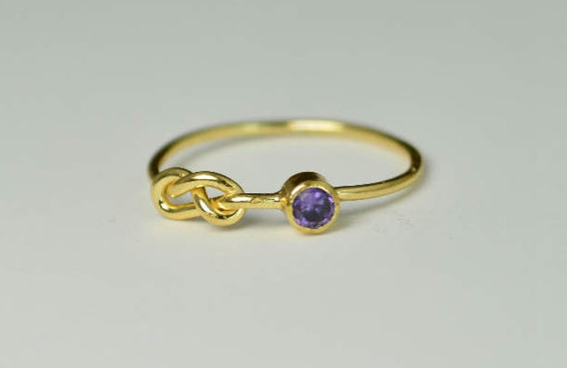 14k Gold Amethyst Infinity Ring 14k Gold Ring Stackable image 0