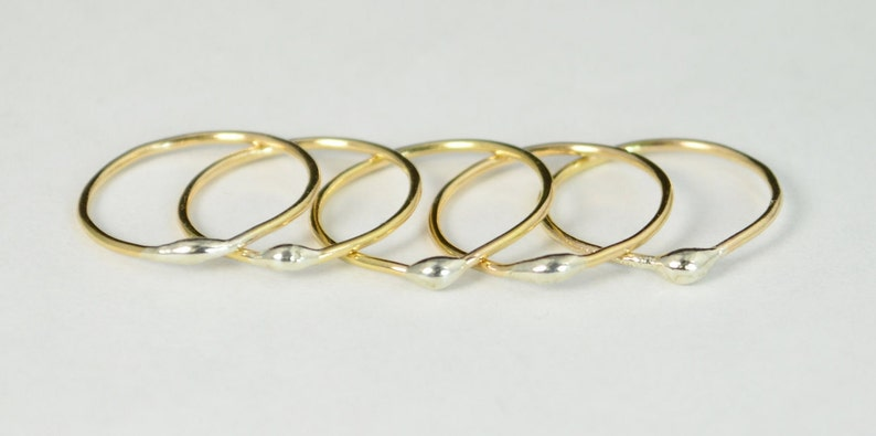 Unique Gold and Silver Dew Drop Stacking RingsBimetal Ring image 0