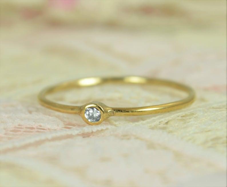 c097e4ca8c4c0 Tiny Diamond Ring Set, Solid 14k Gold Wedding Set, Diamond Stacking Ring,  Solid Gold Diamond Ring, April Birthstone, Bridal Set, Diamond