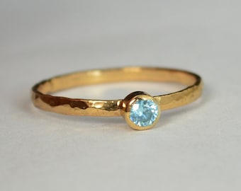 Classic Solid 14k Rose Gold Aquamarine Ring, 3mm Solitaire, Blue Ring, Real Gold, March Birthstone, Mothers Ring, Solid Rose Gold, band