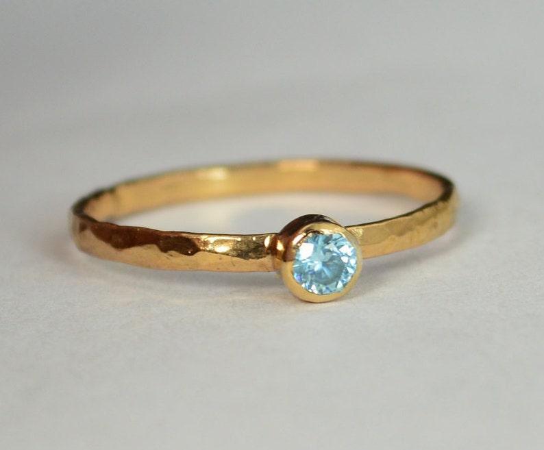 Classic Solid 14k Rose Gold Aquamarine Ring 3mm Solitaire image 0