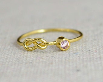 Pink Tourmaline Infinity Ring, Gold Filled Ring, Stackable Rings, Mother's Ring, October Birthstone Ring, Gold Infinity Ring, Gold Knot Ring