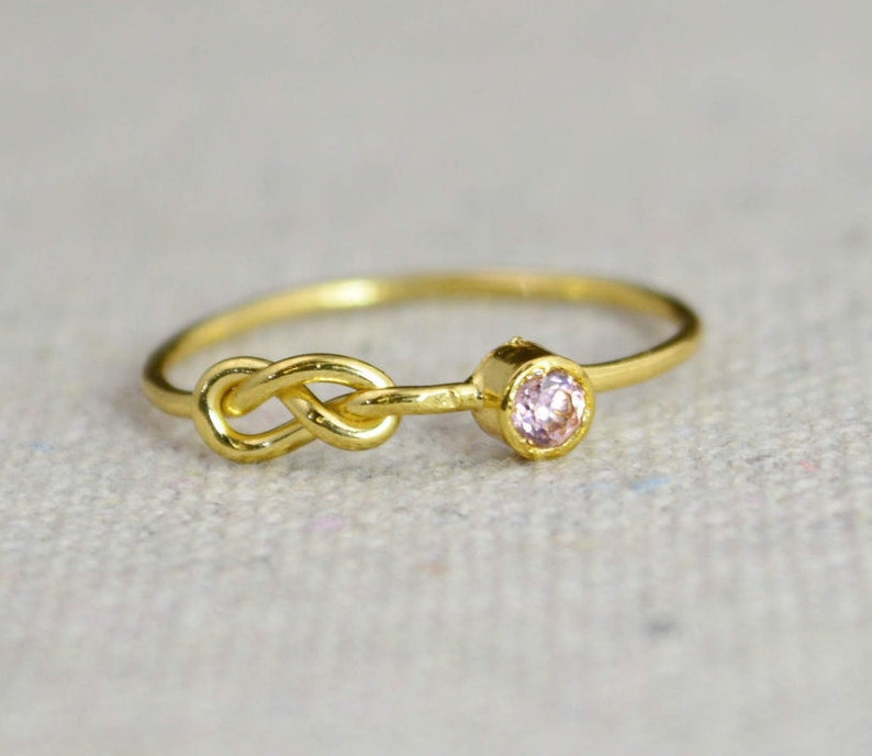 Pink Tourmaline Infinity Ring Gold Filled Ring Stackable image 0