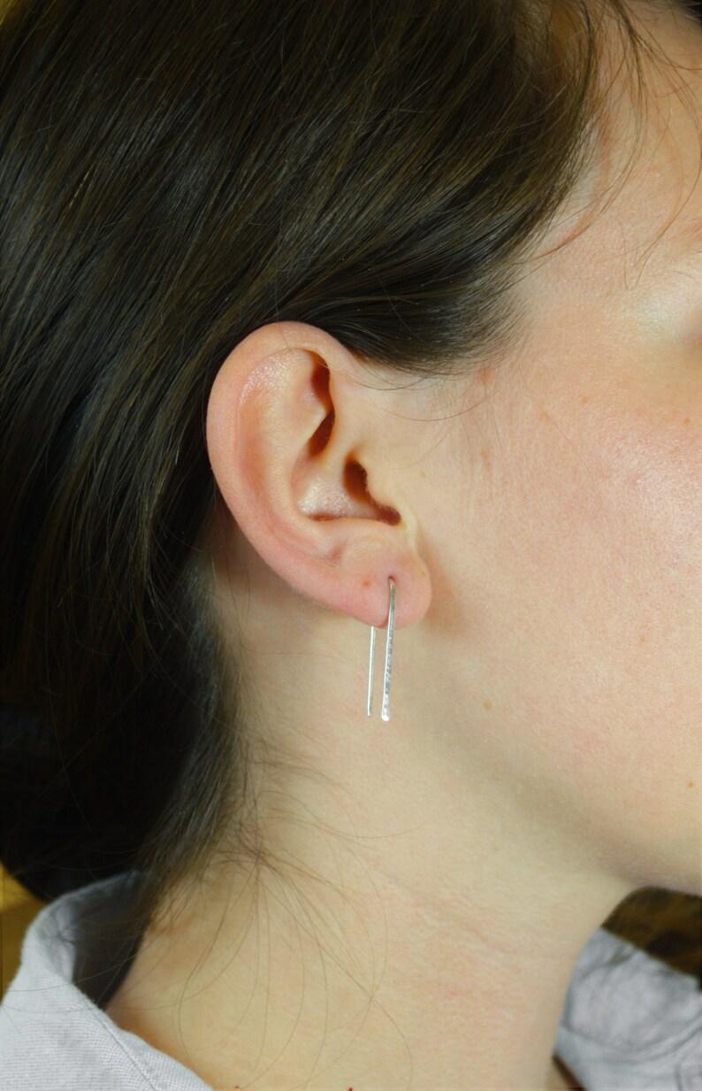 Silver Open Hoop Earrings Horseshoe Earrings Arc Earrings image 0