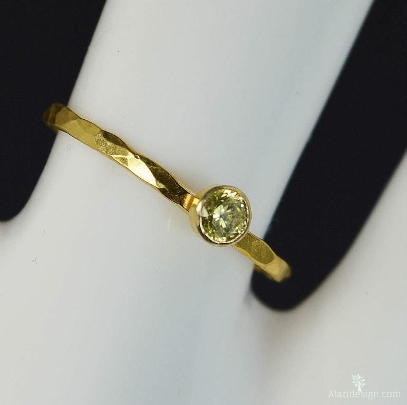 Dainty Solid 14k Gold Topaz Ring 3mm gold solitaire image 0