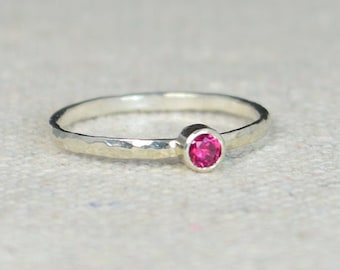 Classic Sterling Silver Ruby Ring, 3mm Silver solitaire, Solitaire, Silver jewelry, July Birthstone, Mothers RIng, Silver band