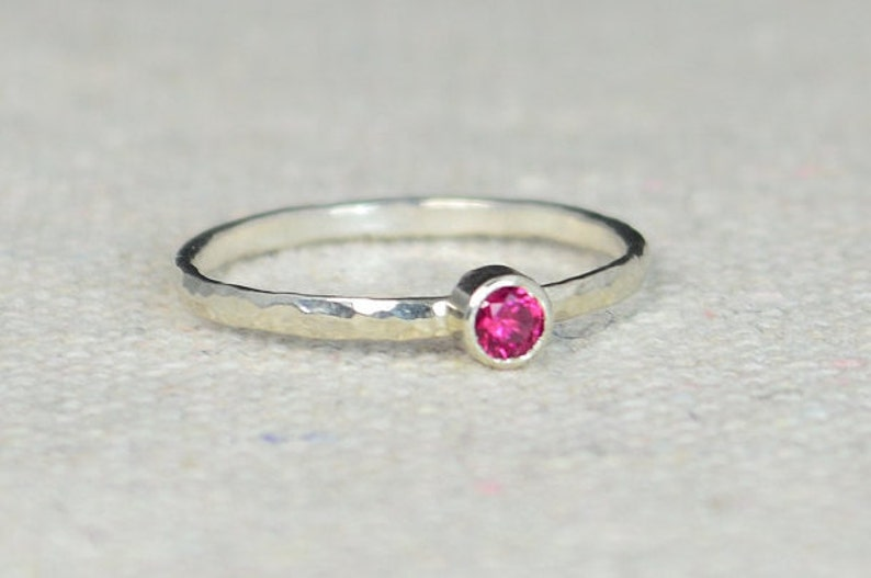 Classic Sterling Silver Ruby Ring 3mm Silver solitaire image 0