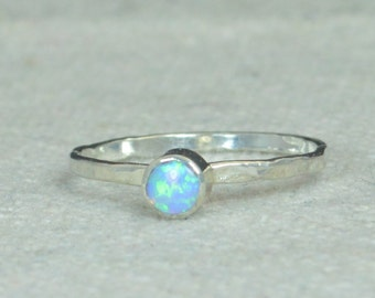 Small Silver Opal Ring, Sterling Opal Ring, Light Blue Opal Ring, Mothers Ring, Opal Jewelry, Stacking Ring, October Birthstone Ring