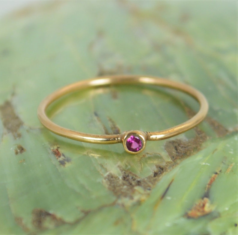 Tiny Ruby Ring Ruby Stacking Ring Solid 14k Rose Gold Ruby image 0