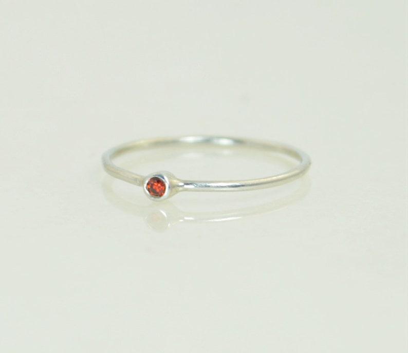 Tiny Garnet Ring White 14k Solid Gold Garnet Ring Garnet image 0