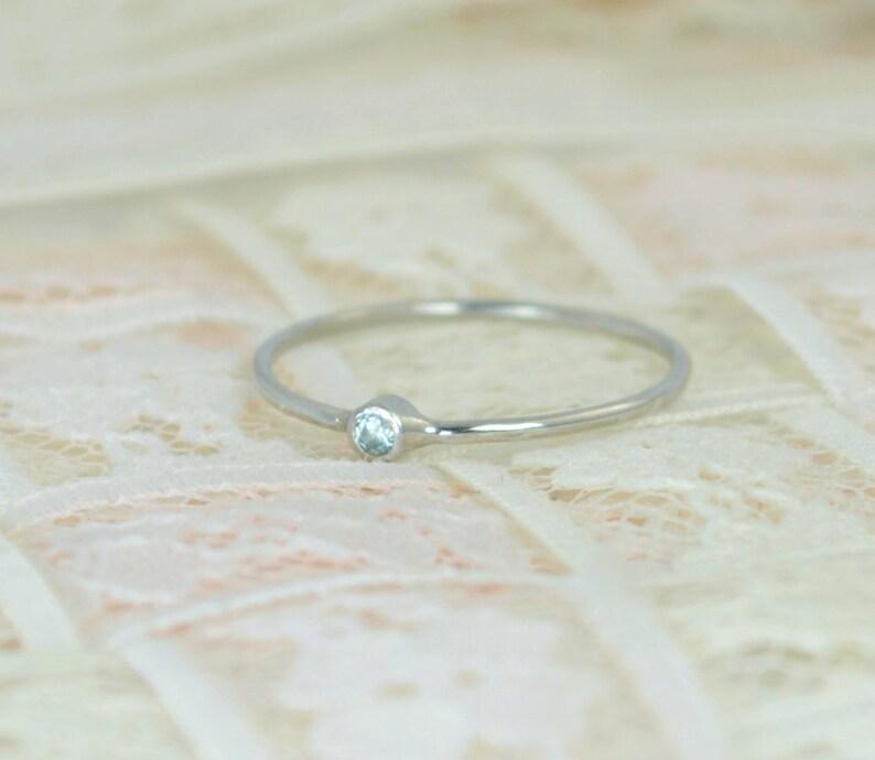Tiny Aquamarine Ring Set Solid White Gold Wedding Set image 0
