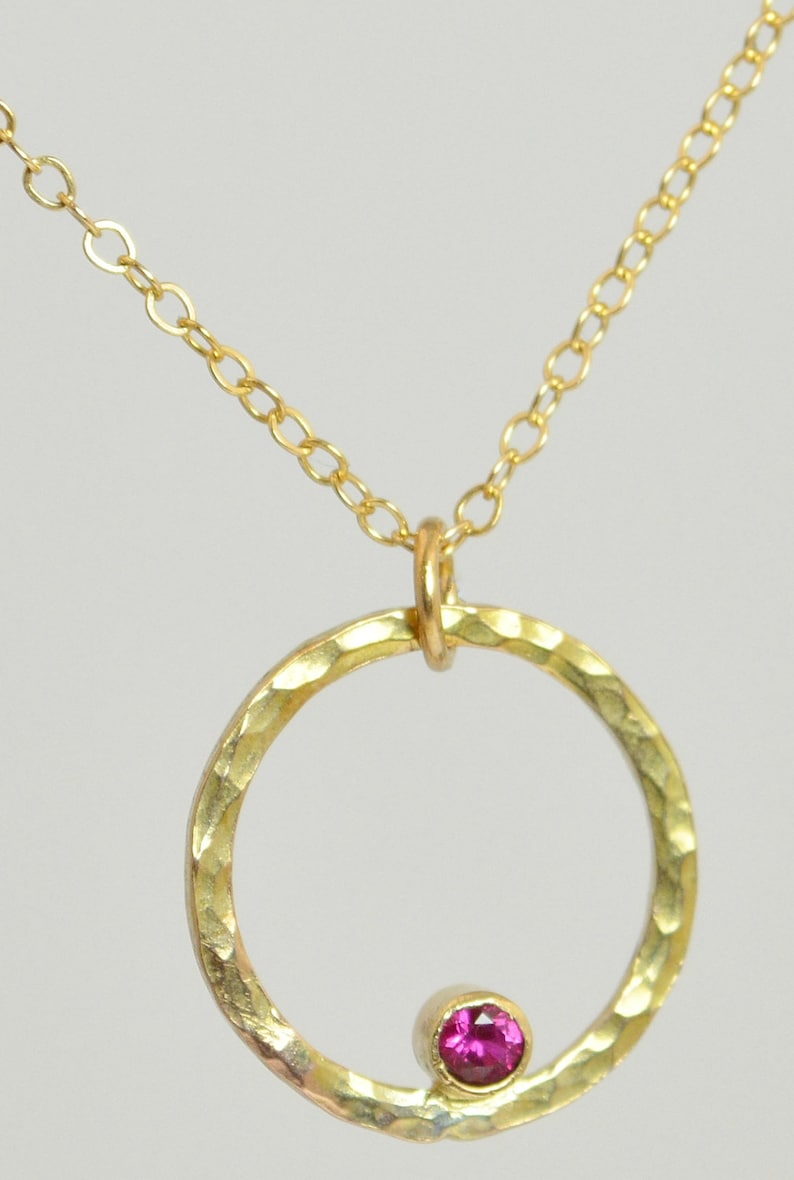 14k Gold Filled Ruby Necklace Mothers Necklace Mom Necklace image 0