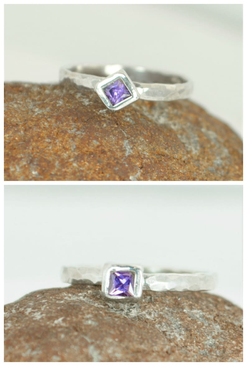 Square Amethyst Ring Amethyst Solitaire Amethyst White Gold image 0
