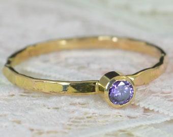 Amethyst Engagement Ring, 14k Gold, Amethyst Wedding Ring Set, Rustic Wedding Ring Set, February Birthstone, Solid 14k Amethyst Ring
