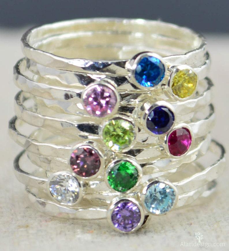 Stackable Birthstone Rings Stackable Gemstone Rings image 0
