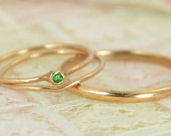 Tiny Emerald Ring Set, Solid 14k Rose Gold Wedding Set, Stacking Ring, Solid Gold Emerald Ring, May Birthstone, Bridal Set, Emerald Ring