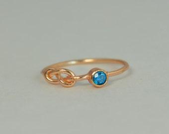 14k Blue Zircon Infinity Ring,14k Rose Gold, Stackable Rings, Mothers Ring, December Birthstone, Rose Gold Infinity Ring,Rose Gold Knot Ring