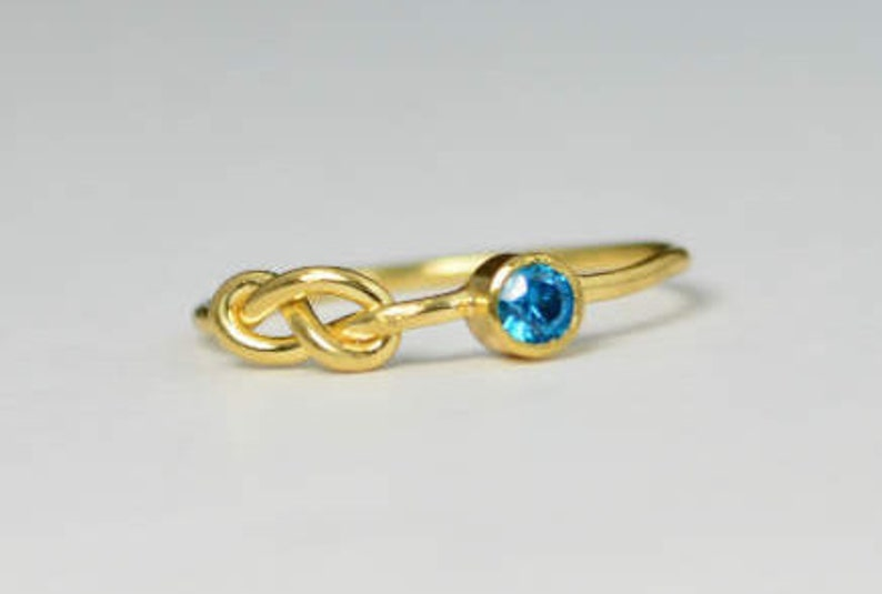 14k Blue Zircon Infinity Ring 14k Gold Ring Stackable Rings image 0