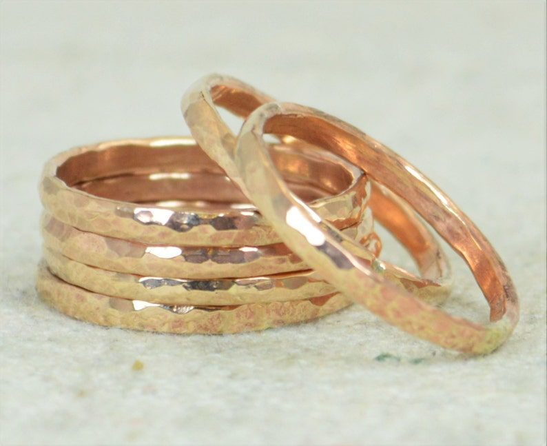 Thick Stackable Bronze Rings Bronze Rings Stackable Rings image 0