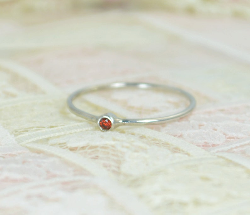Tiny Garnet Ring Set Solid White Gold Wedding Set Garnet image 0