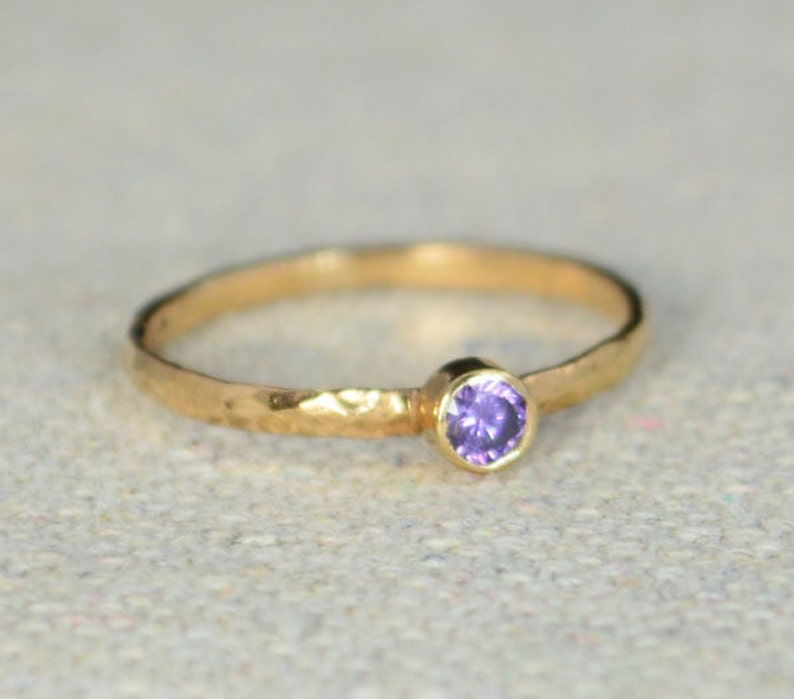 Classic Rose Gold Filled Amethyst Ring Solitaire Solitaire image 0