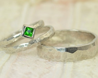 Square Emerald Engagement Ring, 14k White Gold, Emerald Wedding Ring Set, Rustic Wedding Ring Set, May Birthstone, Solid Gold, Emerald Ring